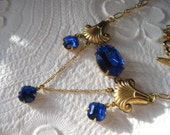 Art Deco Sapphire Reproduction Necklace, Something Blue