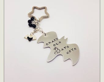 CRAZY BAT KEYS. Keyring. Bat Charm. Large Bat. Hand stamped.