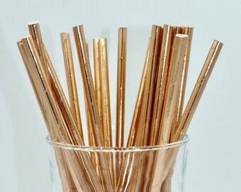 Set of 25 paper straws paper copper rose gold metal trend Valentine love anniversary - shower - wedding - candybar