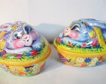 Easter Rabbit Bunny Chicks Basket Plastic Container Set of 2 Ullman USA