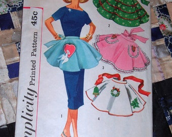 1950s Women's Half Apron Pattern Simplicity 1846 One Size