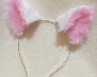3d Adjustable White and Pink Kitten/Cat Ears