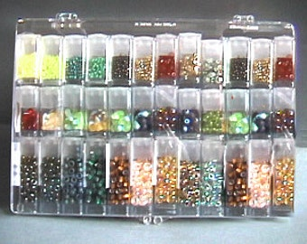 SUPER Transparent ORGANIZER Clear Storage Case Box Beads Findings Eyelets Scrapbooking items with rectangular flip top containers bead tubes