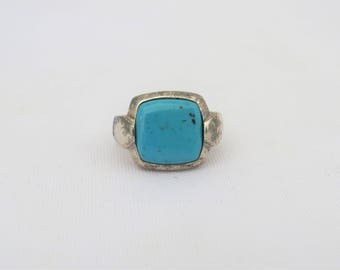 Vintage Sterling Silver Turquoise Bold Ring Size 7