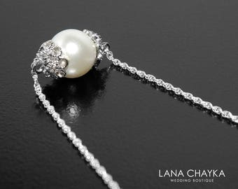 White Pearl Bridal Necklace, Swarovski 8mm Pearl Sterling Silver Chain Necklace, Bridal Pearl Jewelry, Wedding Pearl Necklace, Bridesmaids