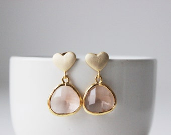 Peach Earrings Gold Heart Post Earrings Gold Blush Earrings Peach Bridesmaids Earrings Gold Blush Bridesmaids Earrings Peach Heart Earrings