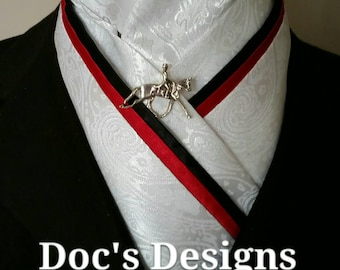 Doc's Designs Red, Black and White Paisley Dressage Stock Tie
