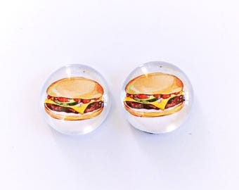 The 'Cheeseburger' Glass Earring Studs