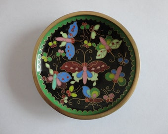 VINTAGE cloisonne mosaic enamel BUTTERFLY TRAY