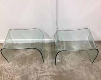 Pair of tempered glass stools by Fiam