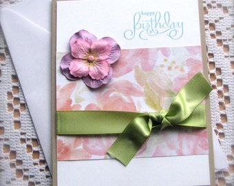 Happy Birthday Card | Watercolor Florals | Paper Flower | Green Satin Ribbon