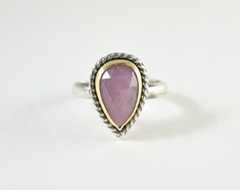 Pink Sapphire Ring in Sterling Silver and 18k Yellow Gold - Rose Cut Sapphire Jewelry - Size 7 Metalsmith Ring - Artisan Stone Ring