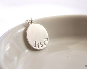 Zodiac Necklace, Zodiac Jewelry, Silver Libra Necklace, Sterling Silver