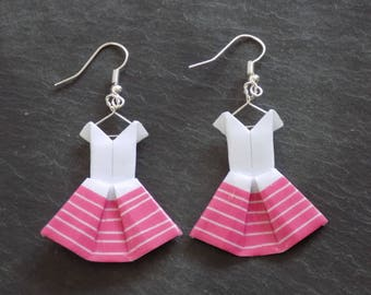 Earrings dresses washi tape pink origami