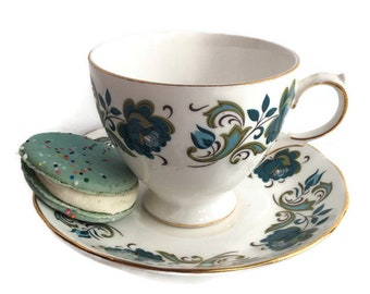 1950's vintage tea cup set, blue and green Queen Anne English EXCELLENT cd, retro wedding china, place settings, mix and match tea party.