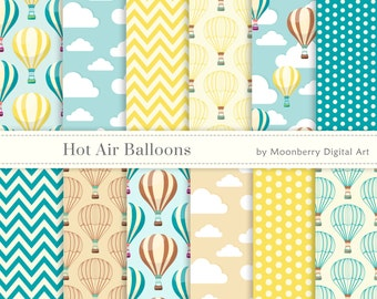 Hot Air Balloons Papers, Hot Air Balloons, Birthday Invitation, Clouds,  Air Balloons, Balloons, Birthday Digital Papers, Clouds Papers