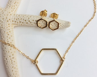 Gold or silver hexagon necklace and studs, vermeil geometric honeycomb jewelry gift set, bridesmaids gift, minimalist everyday simple