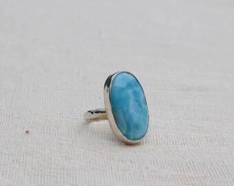 Larimar Moonstone Ring; Sterling Silver; Cabochon; Boho Ring Size 7 3/4