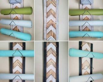 4 Tier Chevron Yoga Mat Holder - Silver Rods Only, Wall mounted, yoga supplies, yoga decor, rustic, wood, yoga studio, yoga gift, handmade