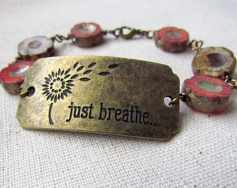Just Breathe, Mantra, Czech Glass, Burnt Orange and Coffee, Flowers, Jewelry, Antiqued Brass, Rustic Wire Wrapped Bracelet, Vintage Style