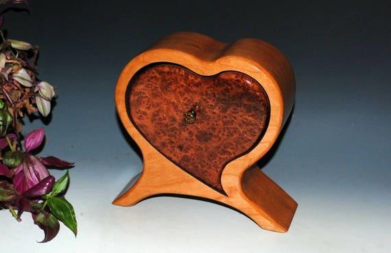 Handmade Wooden Heart Shaped Box - Jewelry Box of Redwood Burl on Cherry - Wood Jewelry Box, Burlwood Box, Valentine's Box, Wood Heart Box