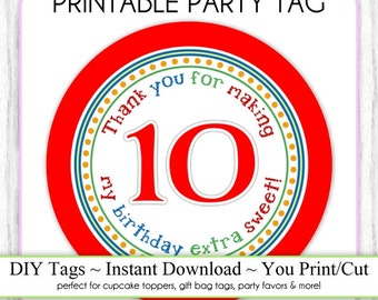 Instant Download - 10th Birthday Printable Party Tag, Birthday Party Tag, DIY Cupcake Topper, You Print, You Cut
