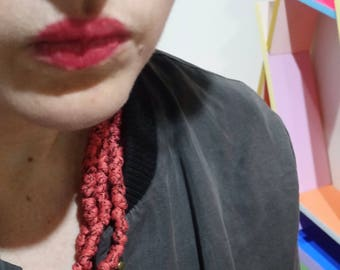 Fabric Pearls - red speckled necklace