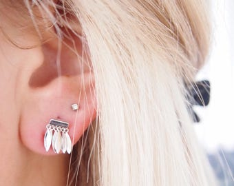 Silver earrings 925 Silver - dangling charms - chips studs - sterling silver ear cuff