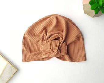 Baby turban hat, turban hat, terra cotta turban, baby turban, toddler turban, newborn turban, baby hat, turban, newborn hat, neutral