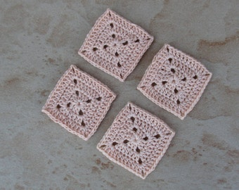 set of 4 square / salmon grannys crochet