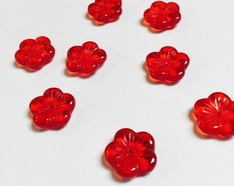 Glass Flower Beads in Red - 8 Pieces - #488