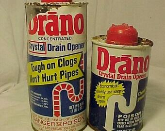 1971 & 1977 Drano Crystal Drain Opener Drackett Products Company Cincinnati, Ohio , Country Household Decor Tin Container