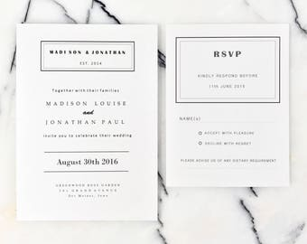 Simple  White Wedding Invitations Suite, Monochrome Wedding Invitation Set with Modern Script, Modern Wedding Invitation with RSVP