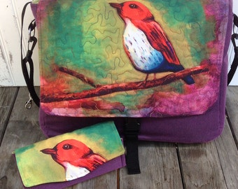 Watercolor Bird Messenger Bag and Wallet Clutch Set