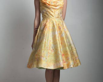 vintage 50s 1950s party dress fit and flare new look yellow orange floral shelf bust MEDIUM M