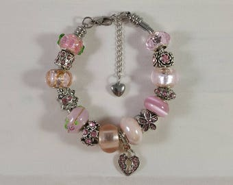 Pink Bead and Crystal European Charm Bracelet, Stainless Steel