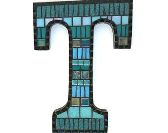 Mosaic Letter Sign, Black Linear Pattern, Request your letter and color!