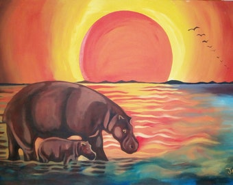 The hippos at sunset