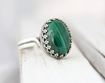 Malachite Ring, Green Malachite Jewelry, Green Gemstone Rings, Adjustable Ring, Genuine Malachite Stone Ring, Gift For Her, Protection Stone
