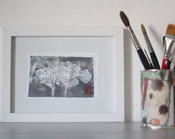 Handmade dragon fish with Linoleografica print