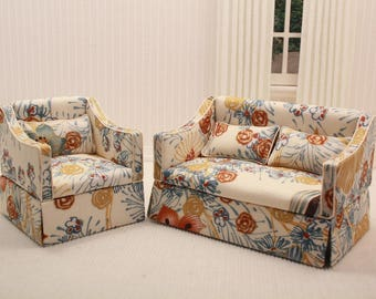 Dollhouse Floral Sofa Set in 1:12 scale