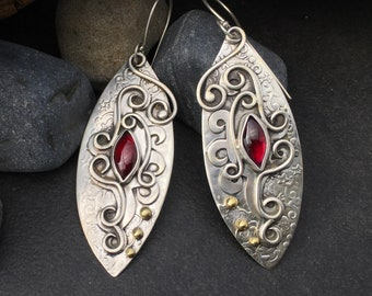 Red garnet earrings, hanging free form fiery layered metalwork, hand fabricated sterling silver, one of a kind