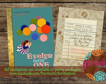 Storybook 1st Birthday Invitation - Vintage book birthday girl invitation - Story book birthday party theme - Available for any age