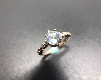 Moonstone Engagement Ring 18k Gold Moonstone Wedding Ring Antique Moonstone Engagment Ring Diamond Moonstone Wedding Ring RoseGold Moonstone