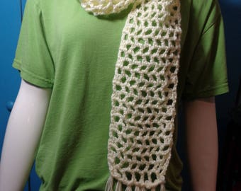 Off White Openweave Crochet Scarf, Lightweight Scarf, Fashion Accessory, Spring Neckwear, Fall Scarf, Cream Scarf, Gift for Mom