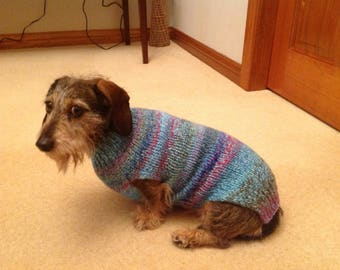 Dog jumper/jacket knitted in wool mix handmade