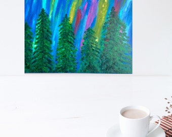 Northern Lights Tree Painting- Colorful Painting - Northern Lights Painting - Aurora Borealis - Northern Lights - 16 x 20 Painting