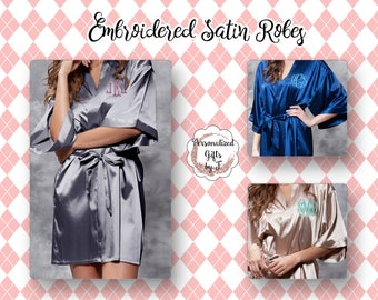 Bridesmaid Gift, Personalized Satin Robe, Wedding Bridesmaid Robe, Monogrammed Robe, Satin Robe, Personalized Bridesmaids Gifts