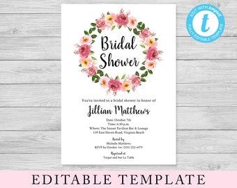 EDITABLE Bridal Shower Template, Bridal Brunch, Edit Yourself Templett, Floral Invitation, Pink Flowers, 5x7 Shower Invite, Instant Download