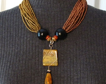 Beaded Bronze and Copper Torsade Necklace with Wrapped Agate Pendant - NS04